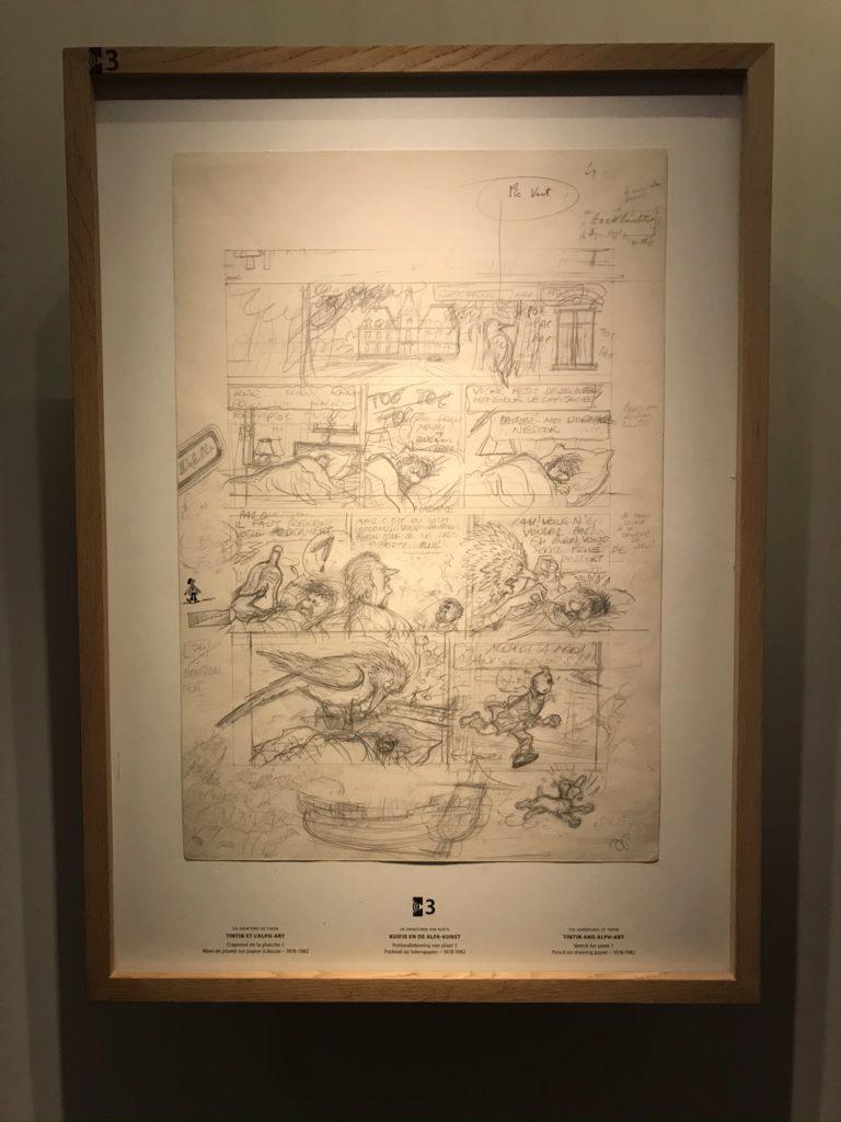 Tekening van de Alpha-kunst in het Hergémuseum