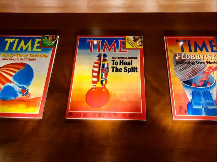 Fondation Folon: covers van tijdschrift Time